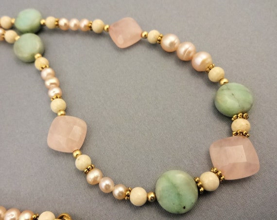 Rose Quartz and Mint Chrysoprase Necklace, Pearls and Gemstone Jewelry, Mint Green and Pink, Gift for Her