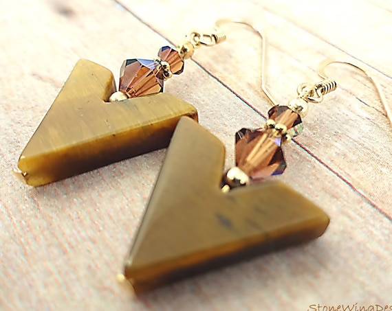 Tigers Eye and Swarovski Chevron Earrings