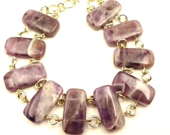 Amethyst Bracelet Bohemian Bracelet Dogtooth Amethyst February Birthstone Bracelet Purple Gemstone Bracelet Gift for Mom Gift for Wife