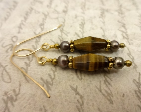 Tiger Eye and Freshwater Pearl Earrings, Brown Dangle Earrings, 14k Gold Fill Earrings, Mothers Day Gift, Gift for Her