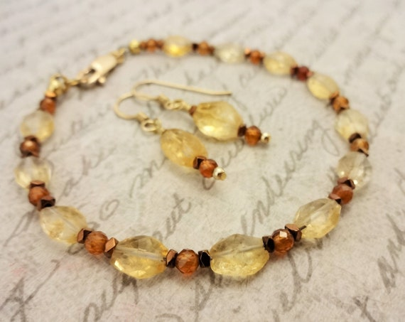 Citrine and Hessionite Garnet Bracelet and Earring Set, Fall Colors, Birthstone Jewelry, Gift for Her