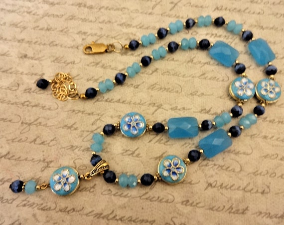 Blue Quartz Necklace, Caribbean Blue Jewelry, Blue Enamel Necklace, Dark Blue Necklace, Blue Gemstone Necklace, Blue and Gold, Boho Necklace