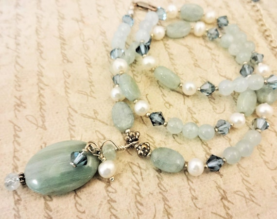 Aquamarine Pearl and Swarovski Crystal Necklace, March Birthstone Necklace, Statement Necklace, Gift for Her