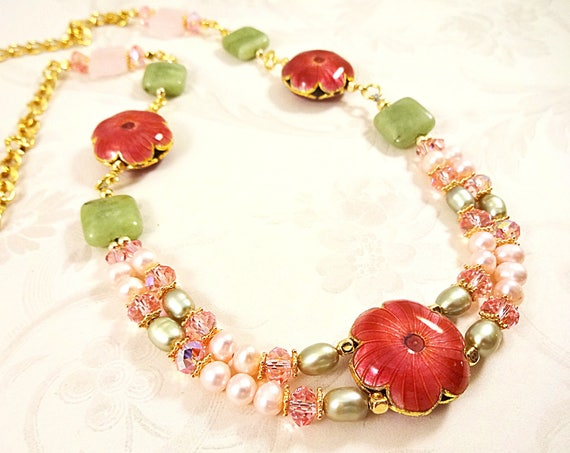 Pink and Green, Pearl Necklace, Enamel Flowers, Green Garnet, Rose Quartz Necklace, Romantic Necklace, Swarovski Necklace, Gemstone Jewelry
