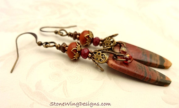 Long Cherry Creek Jasper and Red Jasper Artisan Earrings