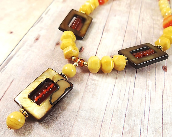 Yellow Jasper, Carnelian and Mother of Pearl Necklace