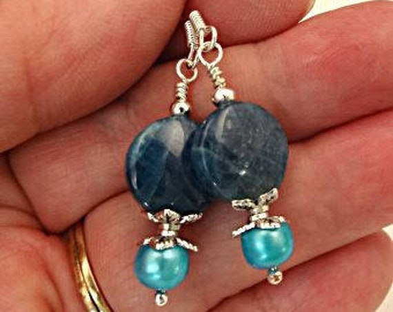 Dark Teal Apatite and Pearl Earrings