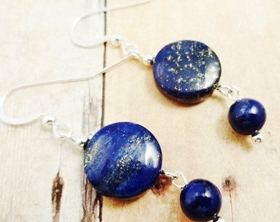 Lapis Earrings, Lapis Lazuli Earring, Gemstone Earrings, Blue Stone Earrings, Natural Lapis, Sterling Silver, Blue Dangle Earrings, Mom Gift