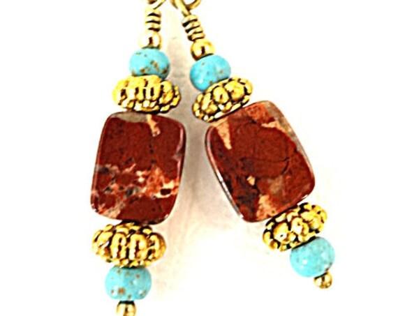 Bohemian Earrings Jasper Earrings Turquoise Earrings Gemstone Earrings Stone Earrings Jasper Jewelry Rustic Earrings Jewelry Gift for Mom