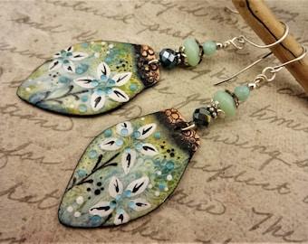 Artisan Enamel Earrings, Green and Blue Enamel Flower Earrings, One of a Kind Artisan Earrings, Handmade Earrings, Gift for Her