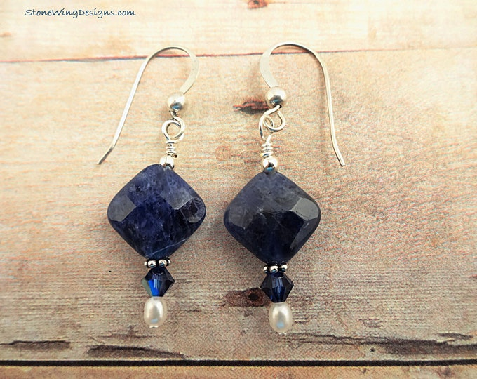 Sodalite Earrings, Blue Gemstone Earrings, Blue Stone Earrings, Stone and Pearls, Natural Blue Stone Earrings, Sterling Silver and Pearls