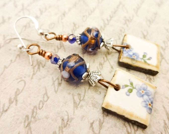 Blue Lampwork and Artisan Ceramic Earrings, Blue Glass Earrings, Rustic Ceramic Tile Earrings, Gift for Her