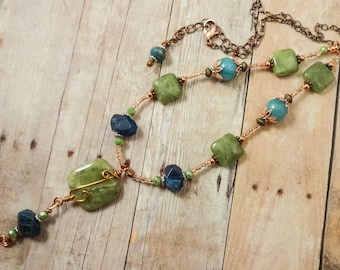 Mixed Metal Green Garnet Necklace Bohemian Necklace Boho Necklace Casual Necklace Rustic Necklace Garnet Gemstone Necklace Gift for Mom