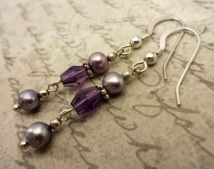 Amethyst Earrings, Amethyst Jewelry, February Birthstone, Birthstone Earrings, Gemstone Earrings, Purple Gemstone, Gemstone and Pearls