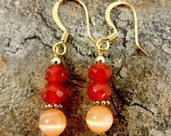 Carnelian Earrings, Orange and Peach, Gemstone Earrings, Gemstone Jewelry, Orange Earrings, Natural Stone, Everyday Earrings, Simple Style