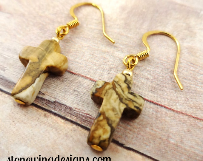 Picture Jasper Earrings, Cross Earrings, Stone Cross Earrings, Brown Earrings, Gemstone Earrings, Gemstone Cross Earrings, rustic earrings
