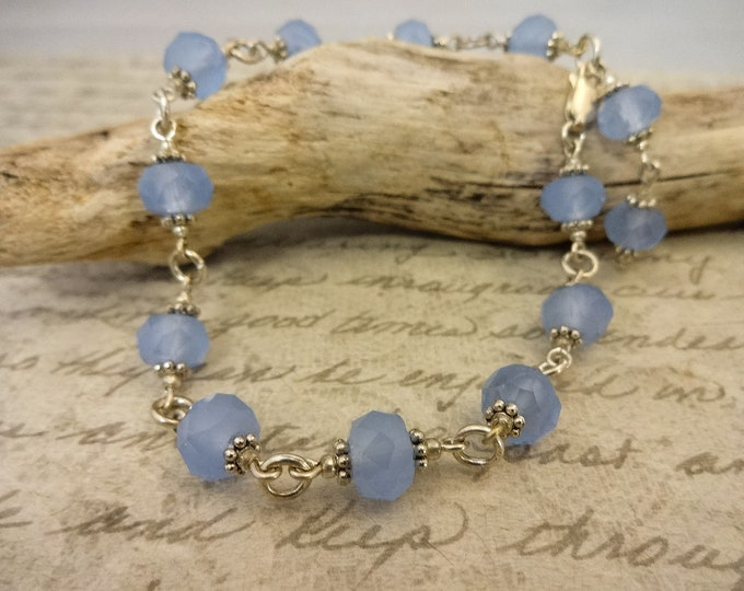 Blue Glass and Silver Links Bracelet, Soft Pastel Blue Jewelry, Blue Beaded Chain Bracelet, Gift for Mom, Gift for Wife