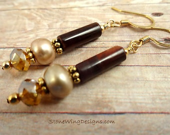 Red Tigers Eye, Tigers Eye Earrings, Brown Stone Earrings, Gemstone Earrings, Stone and Pearl, Pearl Earrings, gift for mom, gift for wife