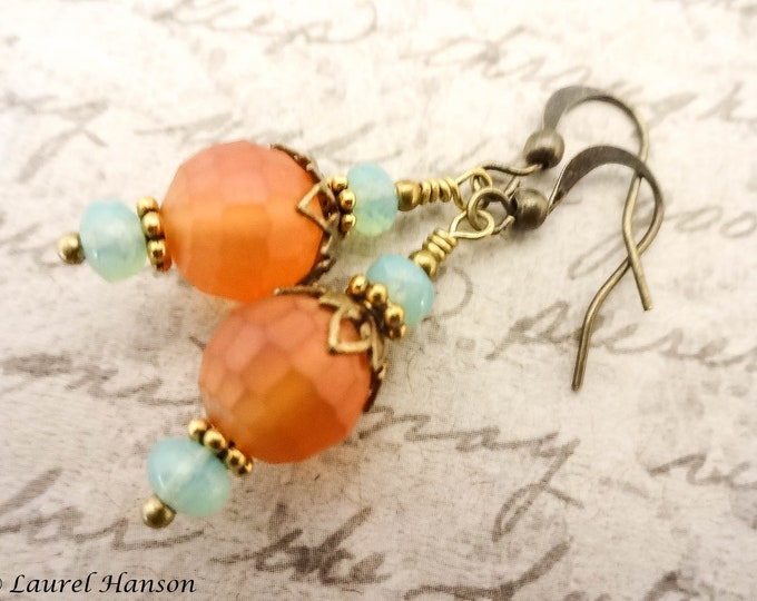 Orange and Mint Green Earrings, Boho Rustic Earrings, Antique Brass Earrings, Gift for Her, Gift or Wife or Girlfriend