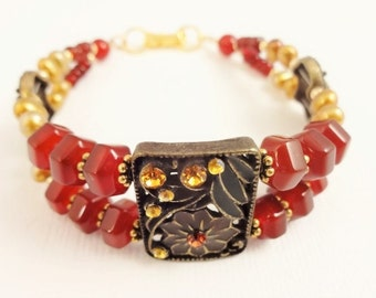 Carnelian Bracelet, Orange Bracelet, Orange Gemstone, Gemstone Bracelet, Handmade Bracelet, Casual Jewelry, Boho Bracelet, Gift for Her