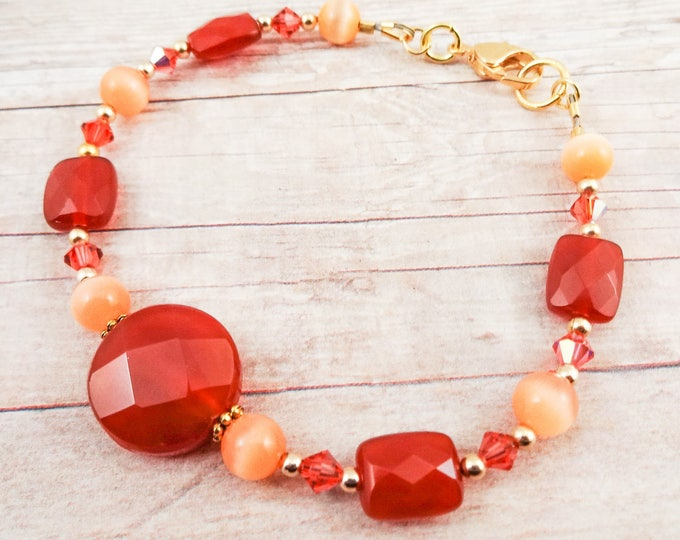Carnelian Bracelet, Gemstone Bracelet, Orange Bracelet, Orange and Peach, Rust and Peach, Elegant Bracelet, Stone Bracelet, for mom