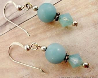 Amazonite Earrings, Gemstone Earrings, Everyday Earrings, Aqua Earrings, Minimalist Earrings, Beach Inspired, Gift for Young Girl, Wife Gift