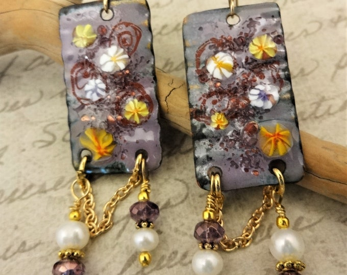 Artisan Enamel, Lavender and White Earrings with Freshwater Pearls and Czech Firepolish, 14k Gold Fill
