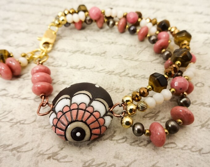 Boho Bracelet, Golem Studio Ceramic, Brown and Pink Bracelet, 3 Strand Bracelet, Gemstone Bracelet, Gift for Her