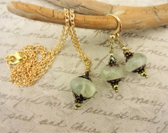 Prehnite Nuggets, Czech Crystals, Antique Copper and 14k Gold Fill Necklace and Earrings Set, Gift for Her