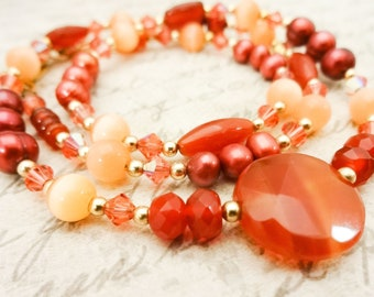 Orange Carnelian and Pearl Necklace, Gemstone Necklace, Gift for Wife, Peach and Orange, Gift for Her