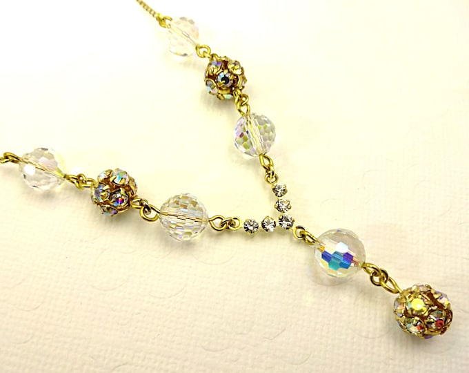 Swarovski Necklace Crystal Necklace 14k Gold Fill Necklace Dainty Necklace Crystal Bead Jewelry Chessboard Crystal Gold Rhinestone Balls