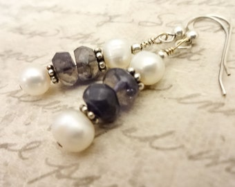 Handmade Iolite Gemstone and Freshwater Pearl Earrings with Sterling Silver Ear Wires