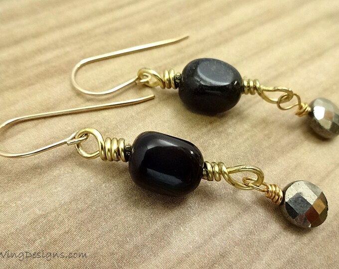 Black Onyx Nuggets & Faceted Pyrite Coin Earrings