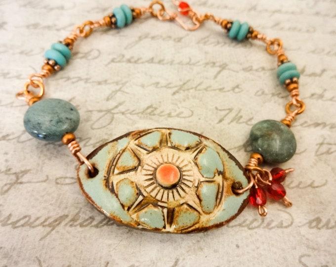 Blue and Red Bracelet, Artisan Ceramic, Gemstone and Glass Bracelet, Gift for Mom, Gift for Her