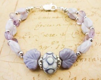 Lavender Gemstone and Lamp Glass Bracelet, Cape Amethyst and Czech Glass Two Strand Bracelet