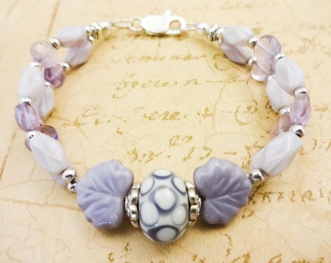 Lavender Gemstone and Lamp Glass Bracelet, Cape Amethyst and Czech Glass Two Strand Bracelet