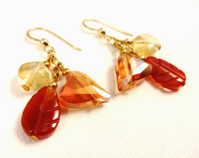 November Birthstone, Boho Earrings, Gemstone Earrings, Citrine, Carnelian, Birthstone Earrings, Dangle Earrings, Multi Stone Earrings