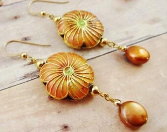 Enamel Earrings, Coin Pearl Earrings, Flower Earrings, Boho Earrings, Orange Earrings, Copper Pearl Earring, Enamel and Pearl Earrings