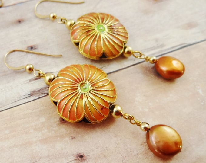 Enamel Earrings, Coin Pearl Earrings, Flower Earrings, Boho Earrings, Orange Earrings, Copper Pearl Earring, Enamel and Pearl Earrings