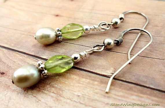 Peridot Ovals and Freshwater Pearl Earrings