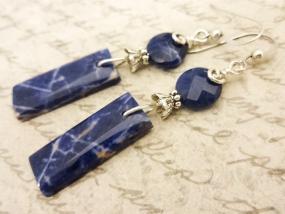 Sodalite Earrings, Blue Gemstone Earrings, Blue Stone Earrings, Natural Gemstones, Sterling Silver, Blue Earrings, Sodalite Jewelry