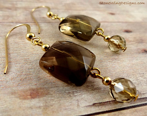 Square Faceted Smokey Quartz Gemstone Earrings