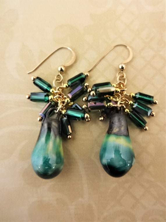 Green Porcelain and Glass Earrings; Cluster Earrings with Artisan Porcelain Bobbles. One of a Kind Earrings