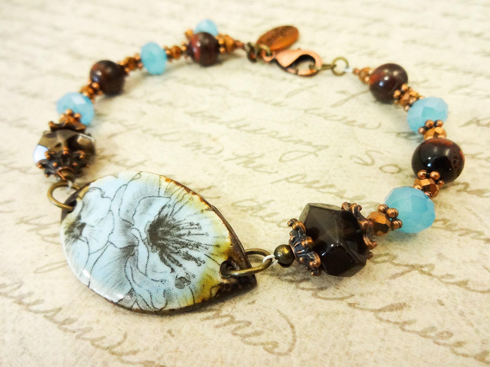 smoky quartz necklace /& bracelet Blown glass