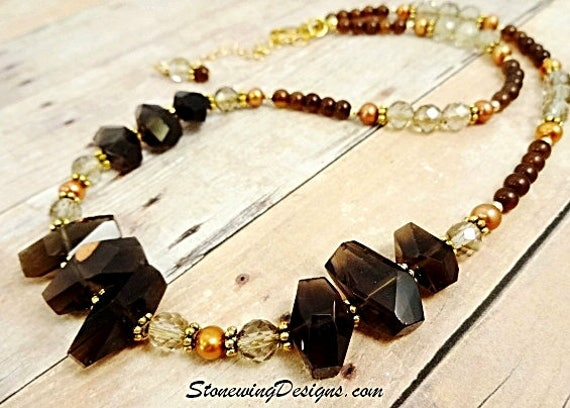 Smokey Quartz Necklace, Gemstone Nuggets Necklace, Brown Stone Necklace, Chunky Necklace, Natural Quartz, Statement Necklace