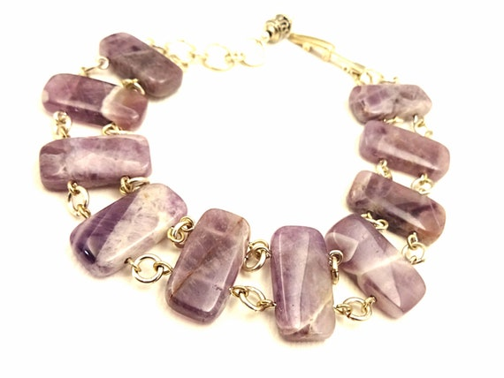 Amethyst Bracelet Bohemian Bracelet Dogtooth Amethyst February Birthstone Bracelet Purple Gemstone Bracelet Gift for Mom Gift for Wife