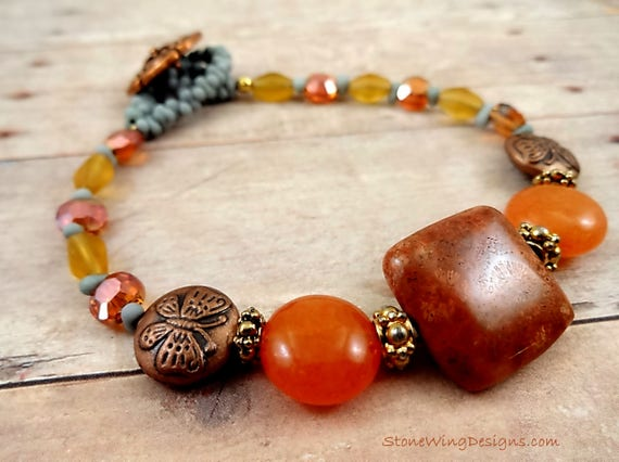 Rustic Boho Hippie Chic Mixed Bead Bracelet in Orange and Blue