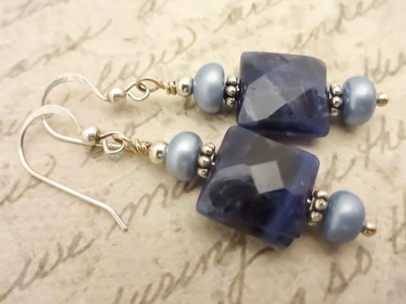 Sodalite Gemstone and Pearl Earrings