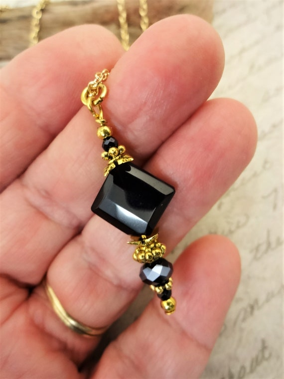 Black Onyx and Faceted Czech Firepolish Pendant Necklace with Gold Plated Chain, Black and Gray Gemstone Necklace