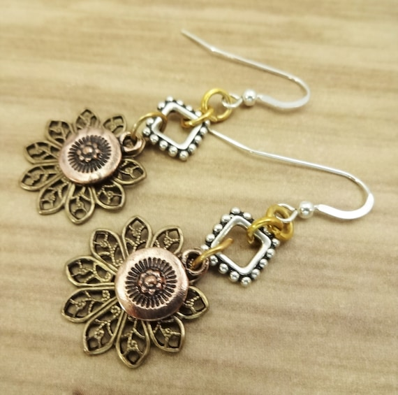 Mixed Metal Earrings with Gold Filigree, Copper Charm and Sterling Silver